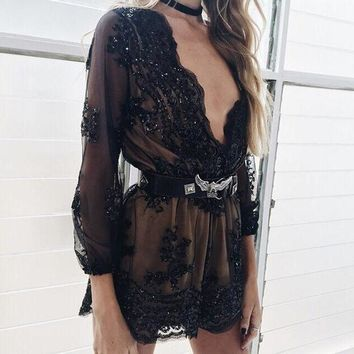 DCCKHQ6 Gold Sequin Embroidery Party Elegant Jumpsuit Romper