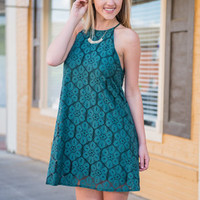 Through The Fashion Forest Dress, Dark Teal