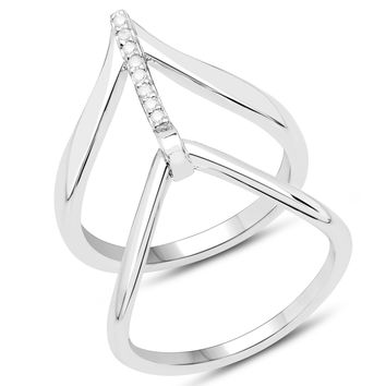 LoveHuang 0.06 Carats Genuine White Diamond (I-J, I2-I3) Bridge Ring Solid .925 Sterling Silver With Rhodium Plating