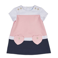 Florence Eiseman Short-Sleeve Stretch Crepe Colorblock Dress, Pink/Navy, Size 12-18 Months