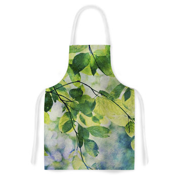 "Sylvia Cook ""Leaves"" Teal Green Artistic Apron"