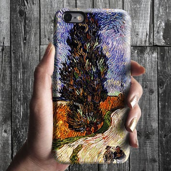 Cypresses - Van Gogh iPhone Case 6, 6S, 6 Plus, 4S, 5S. Mobile Phone. Art Painting. Gift Idea. Anniversary. Gift for him and her