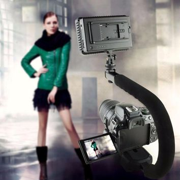 U-shaped Grip Triple Shoe Mount Video Action Stabilizing Handle Grip Camera Grip Rig For Canon For Sony DSLR Camera Phone