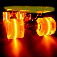 Orange Sunset Flare LED Glow In The Dark Light Up Skateboard Wheels