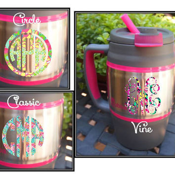52 oz. Gray and Hot Pink Bubba Keg with Lilly Pulitzer Print Pattern Monogram in Laminated Vinyl - Personalized on 2 Sides - w/ Straw