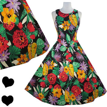 Dress Vintage 80s 50s FLORAL Full Skirt Cotton Rockabilly PARTY Dress S M Pinup Swing