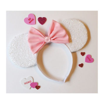 White Sequin Mouse Ears / pick your bow
