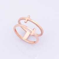 Rose Gold Cross Ring, Double Ring, Cross Ring, Pinky Ring, Thumb Ring, Rose Gold Jewelry, Stainless Steel Ring, Double Band Ring, | 0025RM