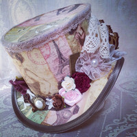 "Steampunk top hat 4"", Burlesque, Gothic, Victorian, Rockabilly, Vintage, Bridal, Adventurer, Explorer, Mad Hatter"