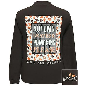 Girlie Girl Originals Autumn Leaves Pumpkin Please Fall Long Sleeve T-Shirt