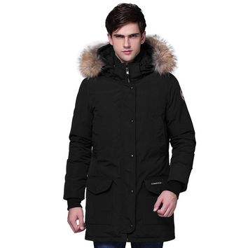 2017 New Thicken Warm Real Fur Collar Winter Coat For Men High Quality Slim Couples Long Down Coat