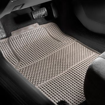 FH GROUP Anti-Slip Modern Waffle Style All Weather Full Set Auto Floor Mats, Gray