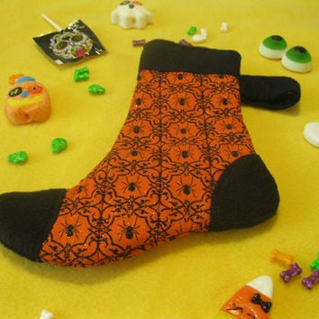 Witch's Sock - Halloween Candy and Treat Stocking - Fancy Spider - Orange & Black Holiday Stocking