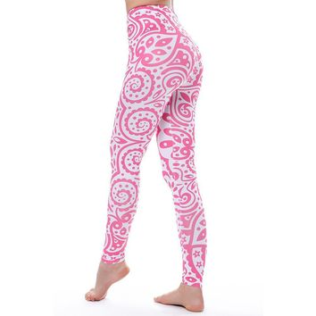Pink Paisley Pattern - Women's Hi-Waist Fitness Leggings - 3-D Graphic Printed
