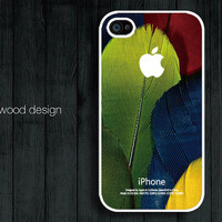 colorized feather iphone case iphone 4s case iphone 4 cover white iphone case  atwoodting design printing
