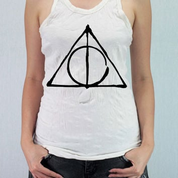 DEATHLY HALLOWS Harry Potter  - Women Wrinkle Shirt Racer Tank Top Tank Racer Back with traditional silk screen