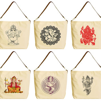 Hindu God Ganesh Beige Print Canvas Tote Bag with Leather Strap WAS_29