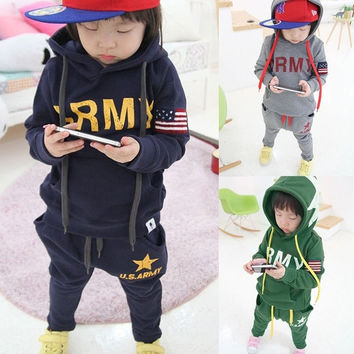 Toddler Boy Child Baby Kid Army Star Hoodie Coat&Trousers Sport Outfit 3-7Y GT58 D_L = 1708649924