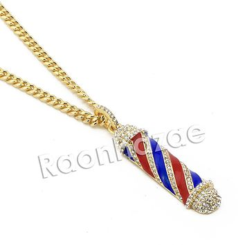 """Men Iced Out Bling Gold Barber Shop Pendant w/ 5mm 24"""" 30"""" Brass Cuban Chain A12"""