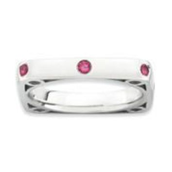 Sterling Silver Polished Created Ruby Square Ring