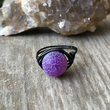 Wire ring, natural stone jewelry, Crystal ring, healing stone jewelry, gemstone wire ring, handmade  ring, purple stone ring, Crab Agate