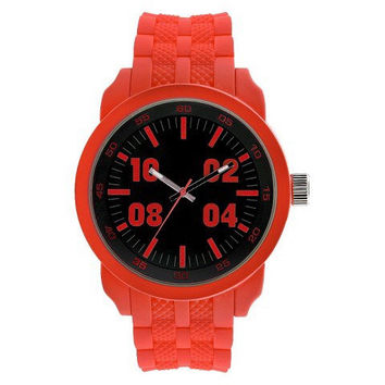 Men's Mossimo Neon Red Rubber Strap Dial Watch