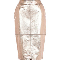 River Island Womens Rose gold metallic high waisted leather skirt