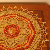 Sunny Bright Sunburst in Yellows and Orange - Crocheted Art Lace Decor