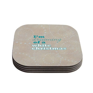"Sylvia Cook ""White Christmas"" Brown Teal Coasters (Set of 4)"