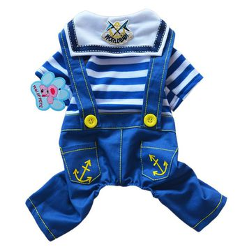 New Brand Striped Navy Style Denim Pet Rompers Dog Puppy Jean Jumpsuit Clothes