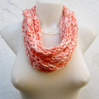 infinity scarf Finger Knitting Scarf -Orange Peach -  Necklace scarf   Winter Accessories-chain loop scarf