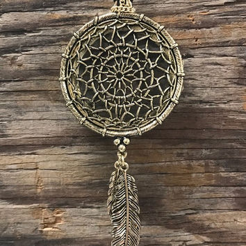 Dreamcatcher & Feather Magnifying Glass Necklace