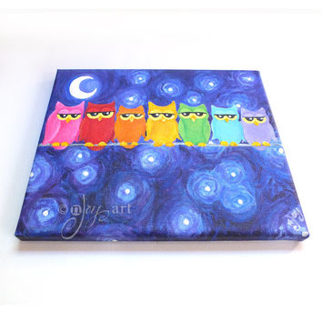 Rainbow Owls on a Wire, 10x8 inch acrylic on canvas, shimsical owl painting for home or office
