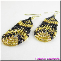 Native American Style Beadwork Seed Bead Earrings Gold and Black Loop De Loops