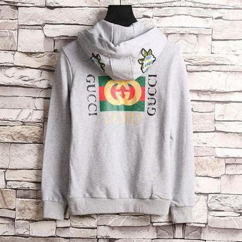 LMFUX5 GUCCI Flower Embroidery Hooded Casual Long Sleeve Cardigan Jacket Coat
