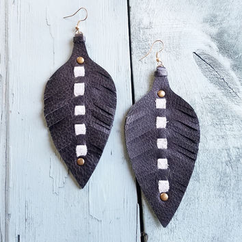 Leather Feather Earring-Black 234i