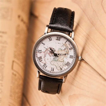 Womens Retro Hight Quality World Map Watch
