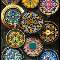 "Arabesque, Moroccan, Mandala - Digital Collage Sheets - 1.5"", 1.25"", 30mm, 1"", 25mm Jewelry supplies for Pendants, Bottle Caps - CG-989C"