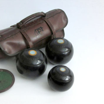 English Lawn Bocce Balls in Leather Case. Thomas Taylor Glasgow.