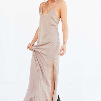 Silence + Noise Deep-V Satin Maxi Slip Dress - Urban Outfitters