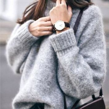 New Grey Women Pullovers Fashion Casual Sweater [8323333057]