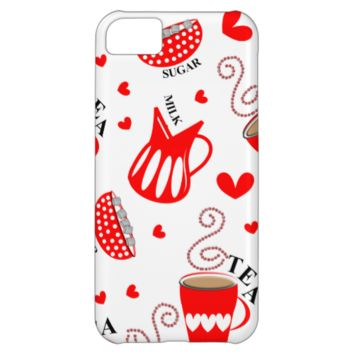 Tea Milk Sugar Red Love Hearts Retro Style Pattern iPhone 5C Covers
