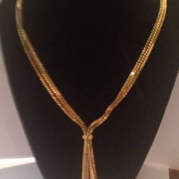 Vintage Gold Napier Tassel Necklace Triple Strand Chain Costume Jewelry