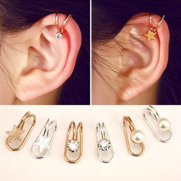 Ear Cuff U Star Moon Earring Punk Minimalist