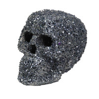 KATHERINE'S COLLECTION Black and Silver Glitter Encrusted Skull