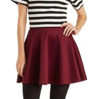 Burgundy Scuba Knit Skater Skirt by Charlotte Russe