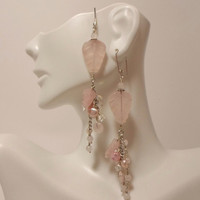 Sterling Silver Earrings of Gemstone Mix of Rose Quart w/ Cascade of Freshwater Pearls, Swarovski Crystal, SS Chain on Handmade Earwires