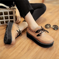 Fashion  Woman Round Toe Flat Platform Creepers Rovet Comfort Lace Up Oxford Shoes
