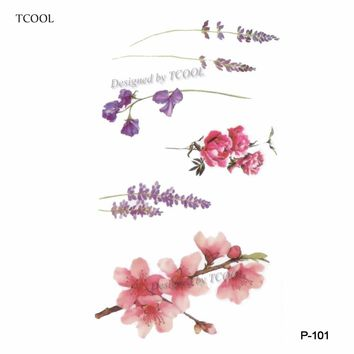 TCOOL Flower Temporary Tattoo Sticker Waterproof Fashion Women Face Fake Body Art  Children Adult Hand Tattoos 10.5X6cm P-101