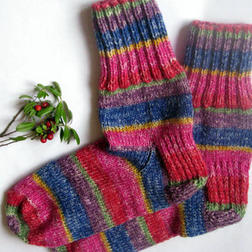 hand knitted women and men wool socks